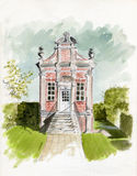 Folly. Original watercolor illustration/sketch of a 'Folly' styled building in a private garden located in Allerton, Nr Leeds UK Royalty Free Stock Image