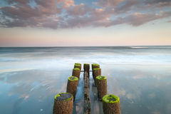 Folly Beach Charleston South Carolina Erosion Control Timber Groin Sunset Stock Photography