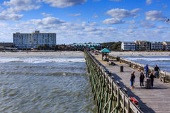 Folly Beach Pier and Beach South Carolina Royalty Free Stock Photo