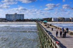 Folly Beach Pier and Beach South Carolina royalty free stock photo
