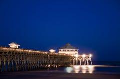 Folly Beach Pier - Charleston, SC. A Beach Pier on a Clear Night stock images
