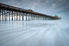 Folly Beach Pier Charleston South Carolina Beach Scene Royalty Free Stock Photography