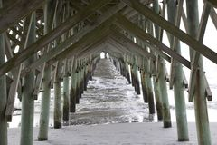 Free Folly Beach South Carolina, February 17, 2018 - View Down Beach And Ocean Under Fishing Pier Stock Photography - 110238992