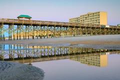 Folly Beach South Carolina Fishing Pier Reflections Stock Image