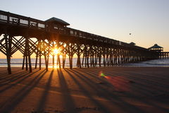 Folly Beach sunrise. Sunrise at Folly Beach pier Stock Photo