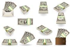Folował set jeden dolara banknoty Fotografia Royalty Free
