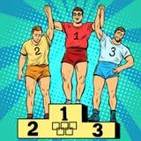 Folâtrez le premier deuxième et troisième endroit sur le podium Images libres de droits