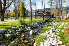 The stream flows through the city park Royalty Free Stock Photo