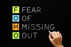 FOMO - Fear Of Missing Out Concept. Hand writing FOMO - Fear Of Missing Out with white chalk on blackboard royalty free stock photo