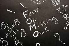Free FOMO - Fear Of Missing Out Sign On Black Sheet Royalty Free Stock Image - 162263486
