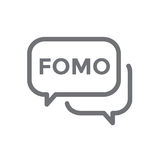 FOMO Icon - Fear of Missing Out Trendy Modern Acronym - Social M Royalty Free Stock Image