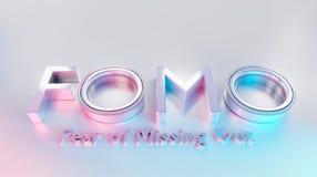 Fomowoord als 3D tekst of embleemconcept op een witte opgepoetste oppervlakte wordt geplaatst die stock illustratie