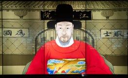 Fonctionnaires avec la forme antique d'examinateur de multim Images libres de droits