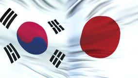 Fonctionnaires de la Corée du Sud et du Japon échangeant l'enveloppe confidentielle, contre des drapeaux clips vidéos