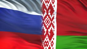 Fonctionnaires de la Russie et du Belarus échangeant l'enveloppe confidentielle, fond de drapeaux clips vidéos