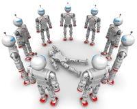 Fonctionnel entouré par robot défectueux illustration de vecteur
