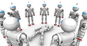 Fonctionnel entouré par robot défectueux illustration stock