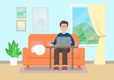 fonctionnement à la maison d'homme Style plat illustration stock