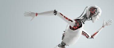 Fonctionnement androïde d'hommes de robot Photographie stock libre de droits