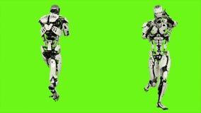 Fonctionnement androïde de robot avec une arme à feu Mouvement réaliste sur l'écran vert rendu 3d