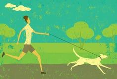 Fonctionnement avec votre chien Photographie stock libre de droits