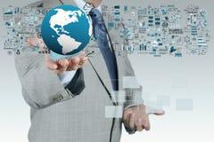 fonctionnement blanc d'ordinateur portatif de portable d'homme d'affaires de fond Image libre de droits