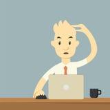 fonctionnement blanc d'ordinateur portatif de portable d'homme d'affaires de fond Photographie stock
