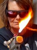 Fonctionnement d'artisan de torche de flamme Images stock
