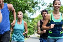 Fonctionnement d'athlètes de marathon Photos stock