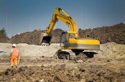 Fonctionnement d'excavatrice Image stock
