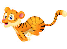 Fonctionnement de bande dessinée de tigre Image stock