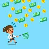 Fonctionnement de femme d'affaires pour attraper l'argent en baisse Images stock