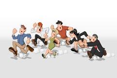 Fonctionnement de gens de dessin animé Images stock