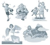Fonctionnement de Hermes Un dieu grec d'isolement sur le blanc Illustration grise plate de vecteur Image libre de droits