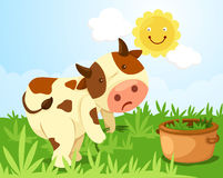 Fonctionnement de vache à dessin animé Photos stock