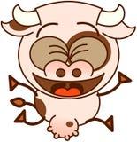 Fonctionnement et célébration mignons de vache Photos stock
