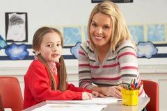 Fonctionnement femelle d'élève et de professeur d'école primaire Photos libres de droits