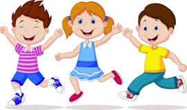 Fonctionnement heureux de bande dessinée d'enfants Photo libre de droits