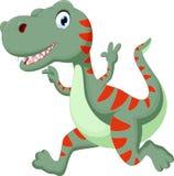 Fonctionnement mignon de bande dessinée de dinosaure Photos stock