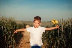Fonctionnement mignon et holdingwindmill de petit garçon à disposition dans le jour d'été photographie stock