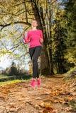 Fonctionnement par la forêt d'automne Photo stock