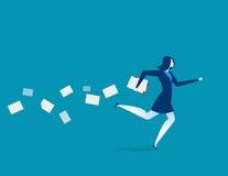 Fonctionnement précipité de femme d'affaires Illustration d'affaires de concept Vect Image libre de droits