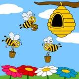 Fonctionner drôle d'abeilles de dessin animé Images libres de droits