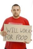 Fonctionnera pour la nourriture. Photos libres de droits