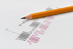 Fonctions et crayon de maths Photo libre de droits