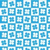 Fond à carreaux de modèle de fleur bleue et blanche Photographie stock libre de droits