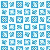 Fond à carreaux linéaire de modèle de forme de fleur bleue et blanche Images libres de droits
