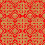 Fond à deux lignes de modèle de fleur d'étoile de filigrane chinois sans couture d'or de fenêtre Photo libre de droits