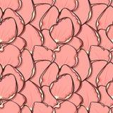 Fond à la mode de conception avec les pétales de rose roses dans le style de croquis Photos stock