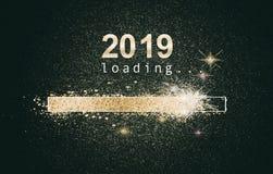 Fond éclatant de nouvelle année avec l'écran de chargement image stock